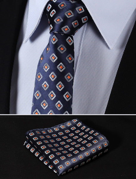 "TC242V7 Navy Blue Orange Check 2.75"" 100%Silk Woven Slim Skinny Narrow Men Tie Necktie Handkerchief Pocket Square Suit Set"