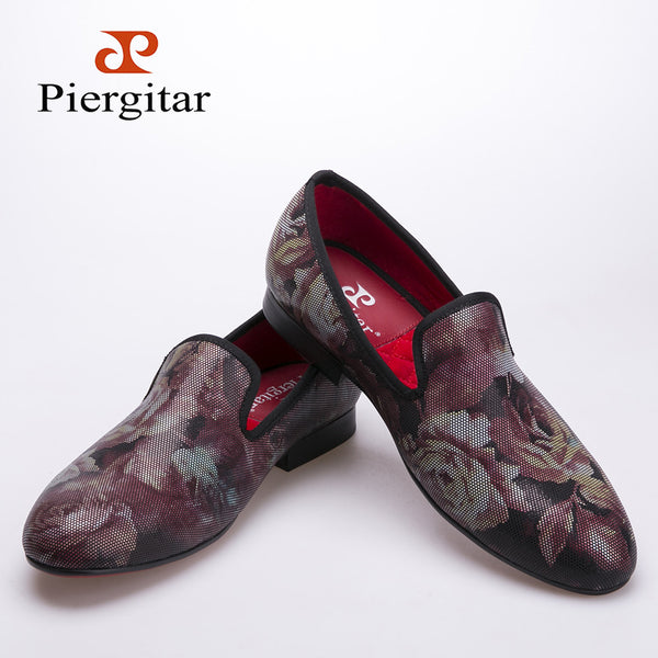 Fashion flower pattern men loafers red insole and red bottom men shoes Party and Wedding men dress shoes  men's flats