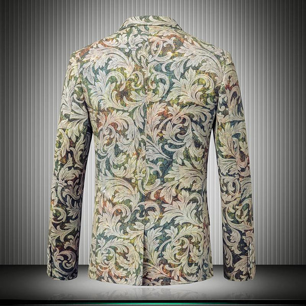 Floral Blazer Men Yellow Green suits New Hight Quality Blazer Masculino Slim Fit Party Vintage Stylish Blazers For Men Floral