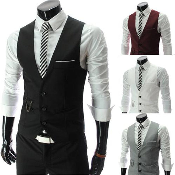 2015 New Arrival Men Suits Dress Vests Men's Fitted Leisure Waistcoat Casual Business Jacket Tops Three Buttons free shipping