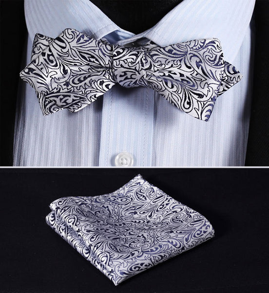 JF101V Navy Blue Silver  Floral Silk Men Diamond Point Tip Self Bow Tie Pocket Square Handkerchief Hanky Suit Set