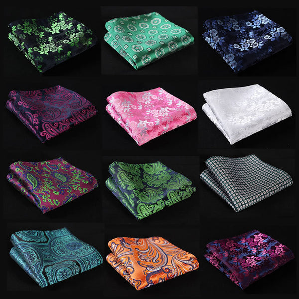 FG  Floral Men Silk Satin Pocket Square Hanky Woven Classic Wedding Party Handkerchief