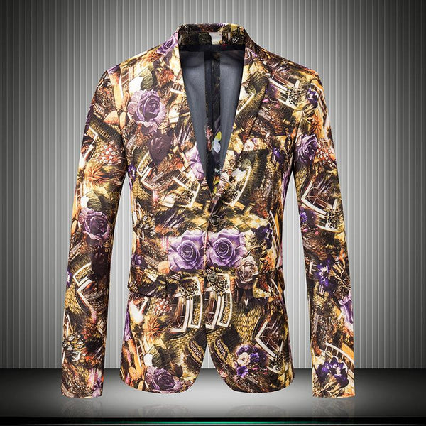 Mens Slim Fit Blazer 2015 Luxury Mens Floral Blazer Wedding Host Party Business Mens Printed Blazer Yellow Mens Suits Jacket Coat