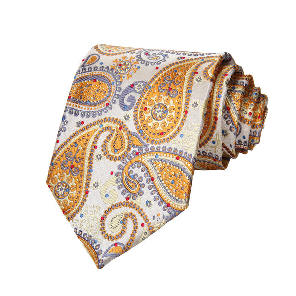 "TP706Y8S Yellow Gray Paisley 3.4"" Silk Woven Men Tie Necktie Handkerchief Set Party Wedding Classic Pocket Square Tie"