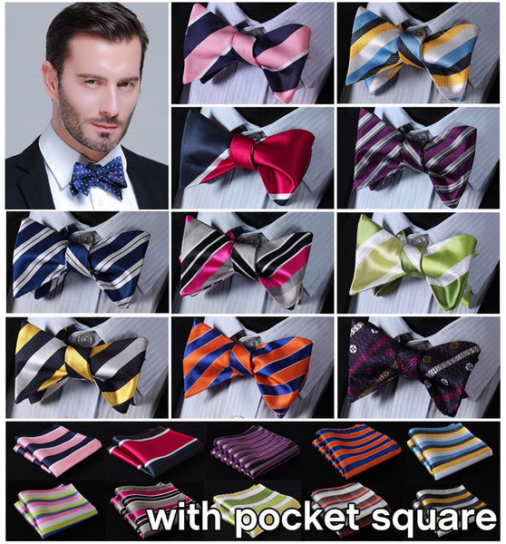 Striped Bow Ties  100%Silk Men Butterfly Self Bow Tie BowTie Pocket Square Handkerchief Hanky Suit Set ESB