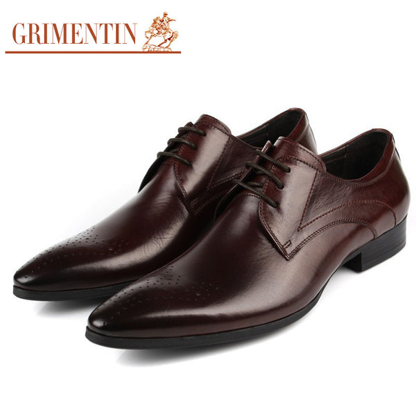 2015 classic luxury fashion genuine leather mens dress shoes for men wedding business office black brown pointed toe flats #728