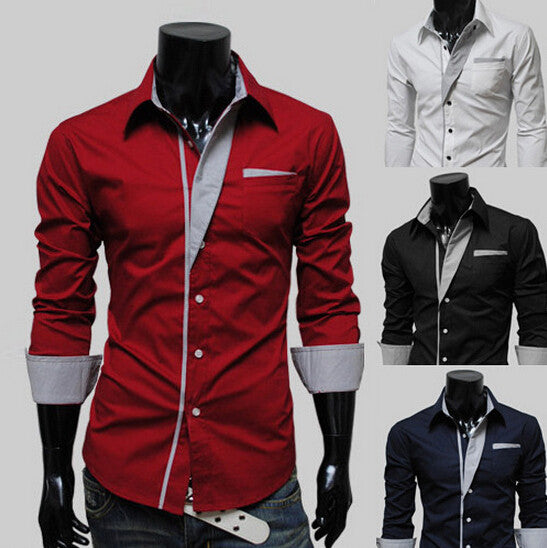 2015 New Mens Shirt  denim Casual Shirts Men Slim Fit Brand Design Formal Shirt Social striped collar fashion shirt men