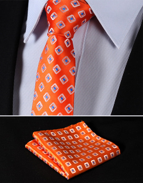 "TC242N7 Orange Blue Check 2.75"" 100%Silk Woven Slim Skinny Narrow Men Tie Necktie Handkerchief Pocket Square Suit Set"