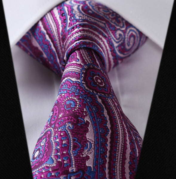 "Paisley TC445H8 Hot Pink Blue Floral 3.4"" 100%Silk Wedding Jacquard Woven Men Tie Necktie Pocket Square Handkerchief Set Suit"
