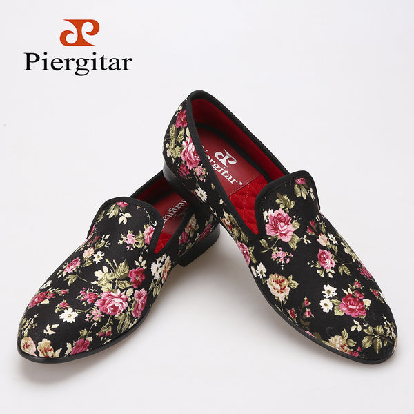 Piergitar New Handmade Flower Men Canvas Shoes China Style Men Wedding and Party Loafers Men Flats Size US 6-14 Free shipping