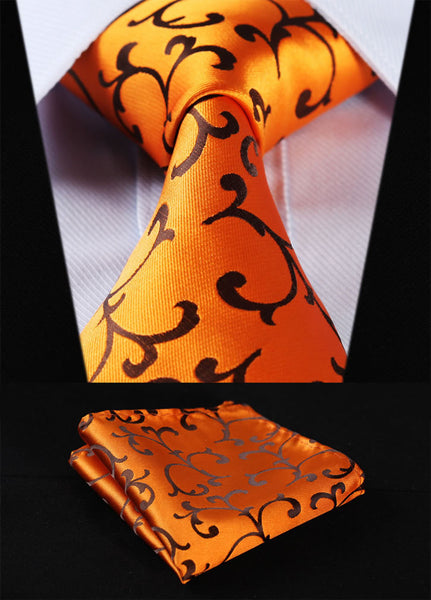 "TF2001D8 Gold Orange Floral 3.4"" 100%Silk Wedding Jacquard Woven Men Tie Necktie Pocket Square Handkerchief Set Suit"