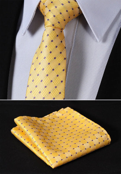 "TC3040Y7 Yellow Purple Check 2.75"" 100%Silk Woven Slim Skinny Narrow Men Tie Necktie Handkerchief Pocket Square Suit Set"