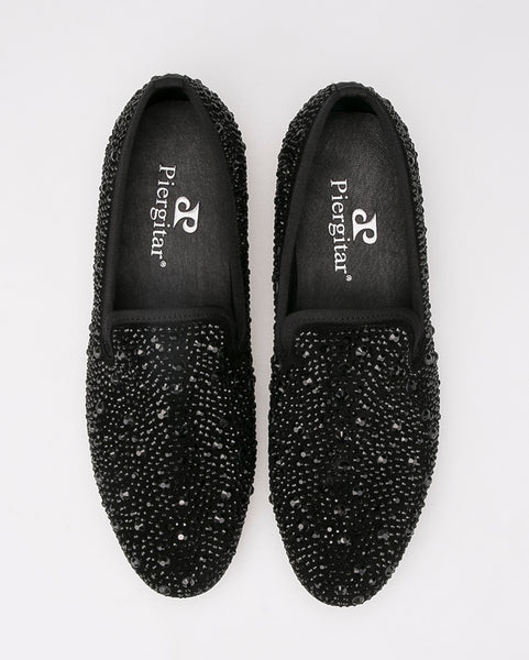 Cool Men Loafers with Inlaid Translucent Stone Slipe on Shoes Black