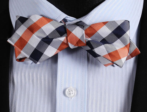 JC201N Navy Blue Orange Check Silk Woven Men Wedding Butterfly Diamond Point Tip Self Bow Tie BowTie