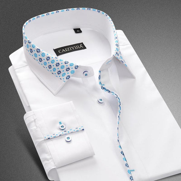 Brand Men Floral White Shirts Men Dress Shirt Long Sleeve Cotton Casual Slim Fit Formal Business Designer High Quality Plus 4XL