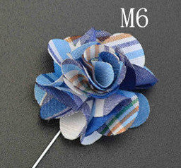 2015 High Quality Handmade Flower Boutonniere Stick Brooch Pin Mens Accessories Men Lapel Pin Brooch Flower Suit 6 Color