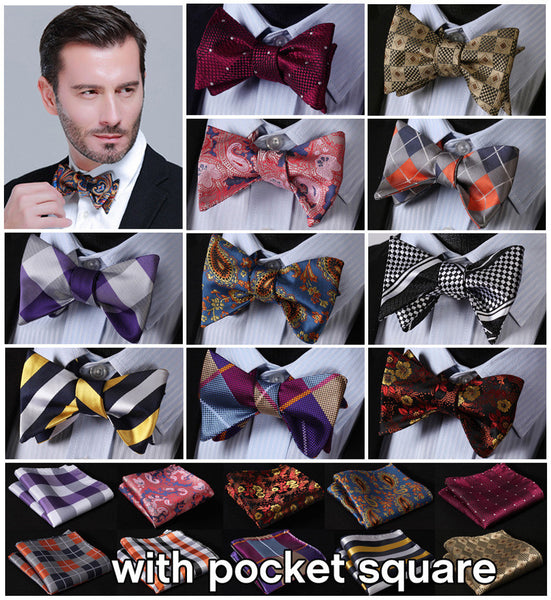 Plaid Check Bow Tie  100%Silk Men Butterfly Self Bow Tie BowTie Pocket Square Handkerchief Hanky Suit Set #B7