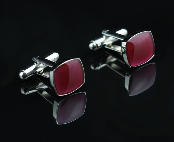 CQS003R 12mm New Fancy Red Silver CUFFLINKS Cuff Links for shirt