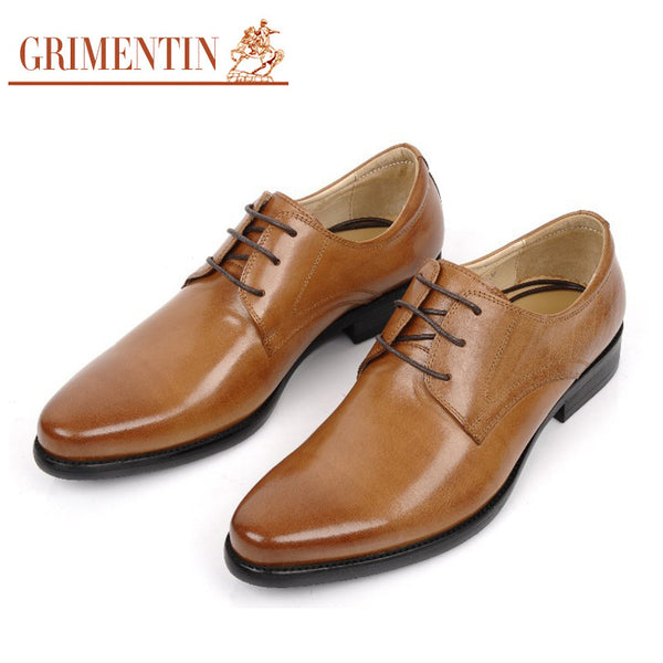 2015 high top fashion formal mens business dress shoes genuine leather black brown basic flats for men business office