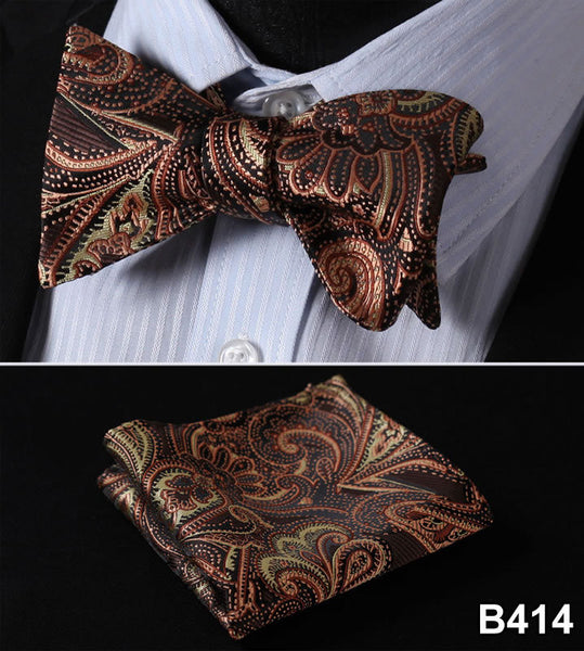 Ftoral 100%Silk  Men Butterfly  Self Tie Bow Tie Pocket Square Handkerchief Hanky Suit Set #B4