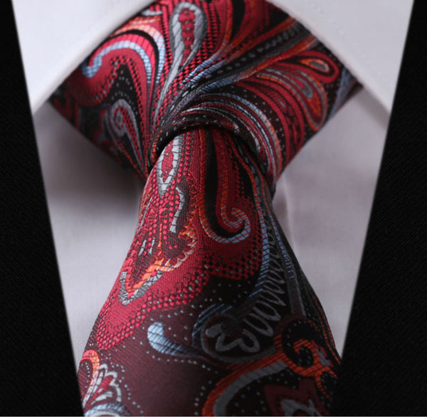 "TF451R8 Red Gray Floral 3.4"" 100%Silk Wedding Jacquard Woven Classic Men Tie Necktie"