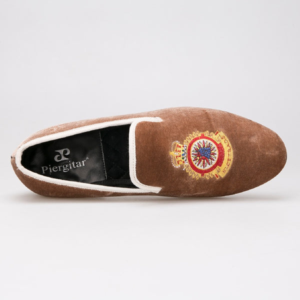 Stylish Men Velvet Slippers Embroidered Loafers Shoes with Brown Size