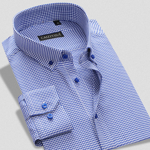 Spring Fall 2016 Mens Business Casual Contrast Color Square Collar Plaid Shirts Top Quality 100% Cotton Slim Firt Men Shirt