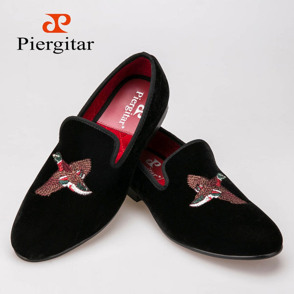 Fashionable Black Men Embroidered Slippers Velvet Shoes size  loafers