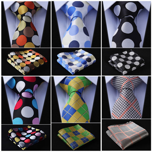 "Check Dot Paisley 2.75"" 100%Silk Woven Slim Skinny Narrow Men Tie Necktie Handkerchief Pocket Square Suit Set #E2"