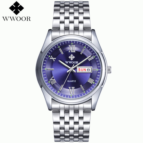 2015 New Brand Men's Watches Date Day 3ATM Waterproof Relojes Stainless Full Steel Dress Men Sports Quartz Watch Casual Wristwatch