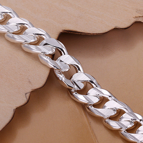 10MM 8INCH New Fashion Russian Runway chains & Link Bracelets for men 925 Sterling Silver Bracelet bangle silver men's jewelry