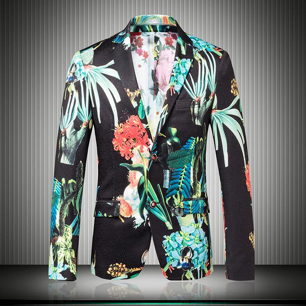Mens Floral Blazer 2015 Autumn Luxury Mens Blazer Jacket Green Slim Fit Korean Fashion Clothing Stage Party Host Singer suits