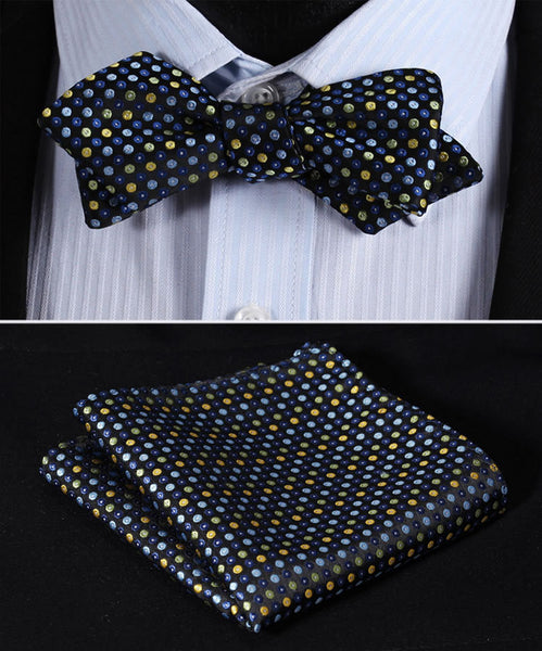 JD102B Blue Yellow Polka Dot Silk Men Diamond Point Tip Self Bow Tie Pocket Square Handkerchief Hanky Suit Set