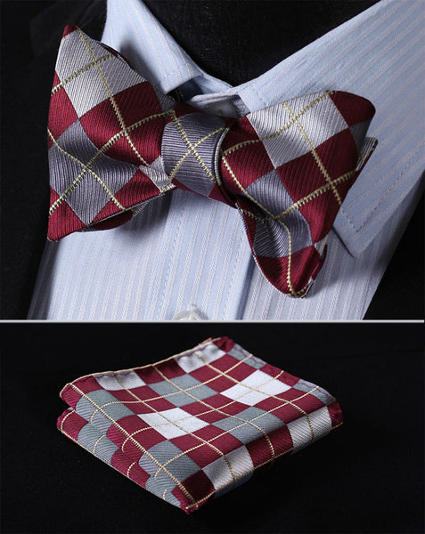 Plaid Check Bow Tie   BC4008R Burgundy Gray Check 100%Silk  Men Butterfly Self Bow Tie BowTie Pocket Square Handkerchief Hanky Suit Set