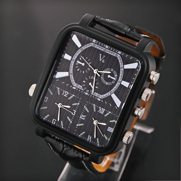 Wholesale Men Wrist Watches V6 fashion leather strap quartz watch sports watches men Outdoor sports waterproof watches