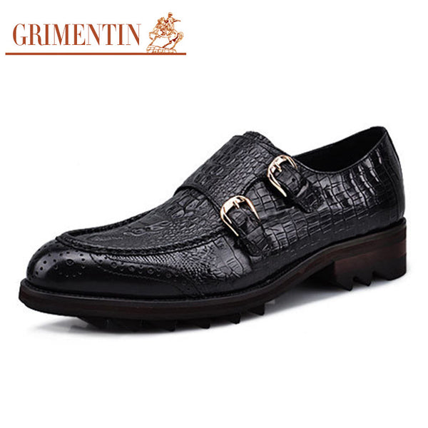 GRIMENTIN crocodile fashion height increasing men genuine leather dress shoes monk strap