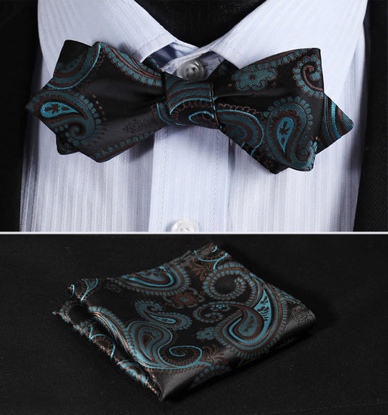 JF405G Green Brown Black  Floral Silk Men Diamond Point Tip Self Bow Tie Pocket Square Handkerchief Hanky Suit Set