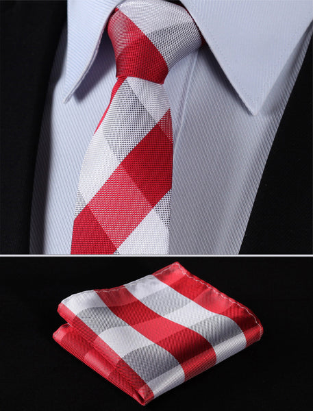 "TC4029R7 Red White Check 2.75"" 100%Silk Woven Slim Skinny Narrow Men Tie Necktie Handkerchief Pocket Square Suit Set"