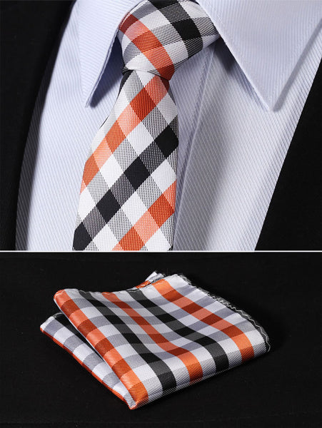 "TC3042N7 Orange Black Check 2.75"" 100%Silk Woven Slim Skinny Narrow Men Tie Necktie Handkerchief Pocket Square Suit Set"