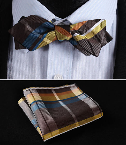 JC401Y Yellow Green Check Silk Men Diamond Point Tip Self Bow Tie Pocket Square Handkerchief Hanky Suit Set