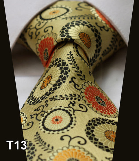 TS21YZ Multi Yellow casual fashion Novelty Jacquard Woven Classic Silk Men Ties Gravatas Self Necktie