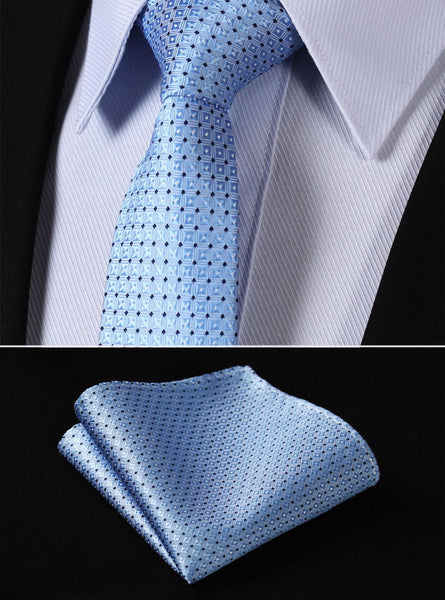 "TC1002B7 Blue Check 2.75"" 100%Silk Woven Slim Skinny Narrow Men Tie Necktie Handkerchief Pocket Square Suit Set"