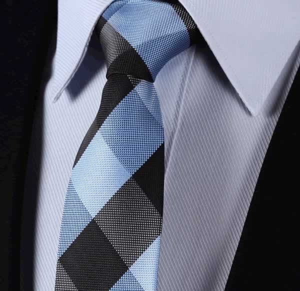 "TC4029B7 Blue Black Check 2.75"" 100%Silk Woven Slim Skinny Narrow Men Tie Necktie Handkerchief Pocket Square Suit Set"
