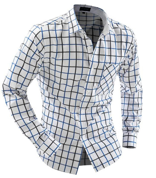 Camisa Cuadros Hombre Brand  Dress Shirts Mens Lace Shirt Slim Fit Chemise Homme Men Shirts Heren Hemden Camisa Masculina XXL