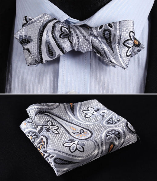 JF406A Gray Orange  Floral Silk Men Diamond Point Tip Self Bow Tie Pocket Square Handkerchief Hanky Suit Set