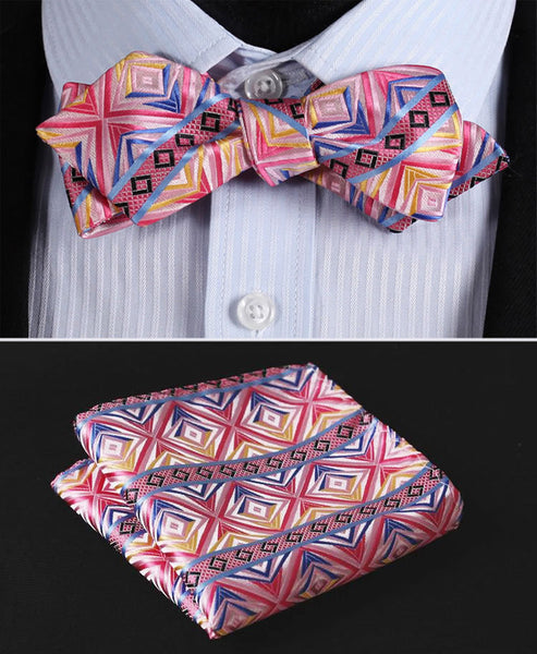 JC203K Pink Blue Yellow Check Silk Men Diamond Point Tip Self Bow Tie Pocket Square Handkerchief Hanky Suit Set