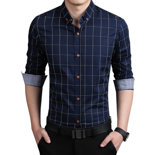 2015 New Autumn Fashion Brand Men Clothes Slim Fit Men Long Sleeve Shirts Men Plaid 100% Cotton Casual Men Shirt Social Plus Size