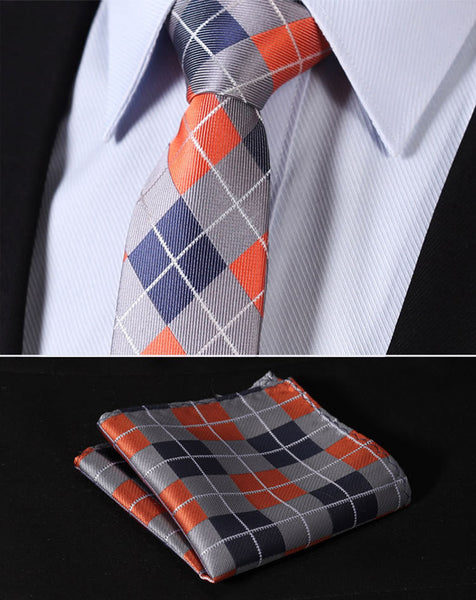 "TC4033N7 Orange Blue Check 2.75"" 100%Silk Woven Slim Skinny Narrow Men Tie Necktie Handkerchief Pocket Square Suit Set"