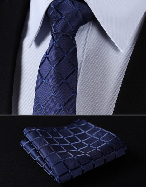 "TC442B7 Pure Navy Blue Check 2.75"" 100%Silk Woven Slim Skinny Narrow Men Tie Necktie Handkerchief Pocket Square Suit Set"
