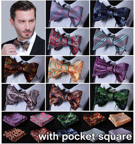 Floral 100%Silk Self Tie Bow Tie Butterfly Self Bow Tie Set